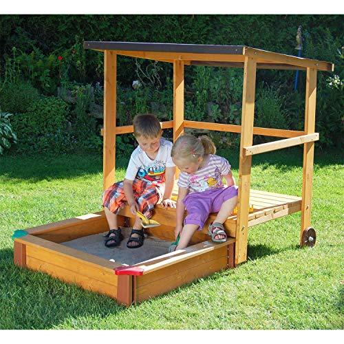 Gaspo Sandkasten mit Spielhaus und Sonnendach, 151x108cm - aus unbehandelten...