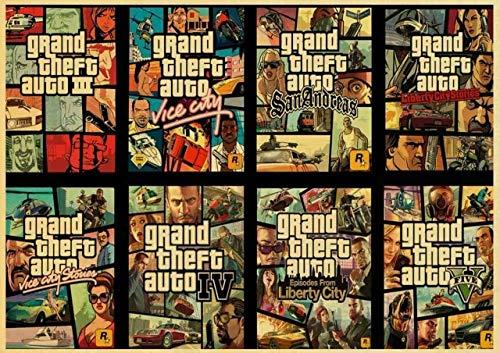 asfrata265 Grand Theft Auto V Spielkunst Retro Poster Gedruckt GTA Wandbilder...