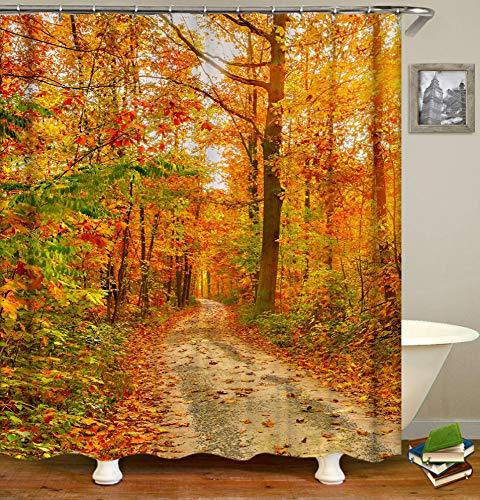 JgZATOA Duschvorhang Wooded Path Print Badvorhang Wasserdicht Badewanne...