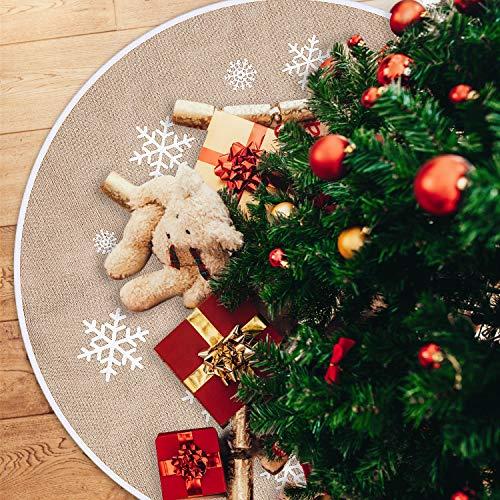 Tatuo Weihnachtsbaum Rock Weiße Schneeflocke Gedruckt Sackleinen Baum Röcke...