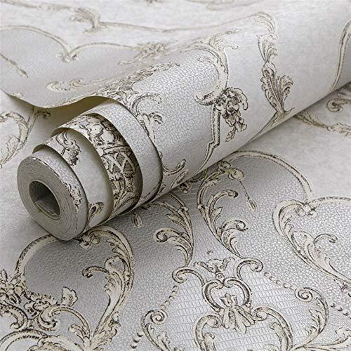 LYHT fotohintergrund Tapeten Luxus-Damast-Tapeten-3D Gold Grau Weiß Texture...