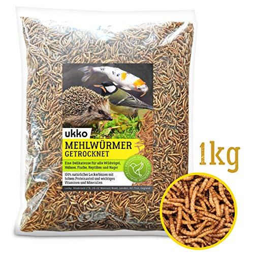 Ukko Mehlwürmer getrocknet 1kg, optimales Zusatz Futter für Reptilien, Fische,...
