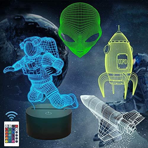 Weltraumgeschenke, 3D Raumfahrer Astronaut Rakete Alien Nachtlicht für Kinder...