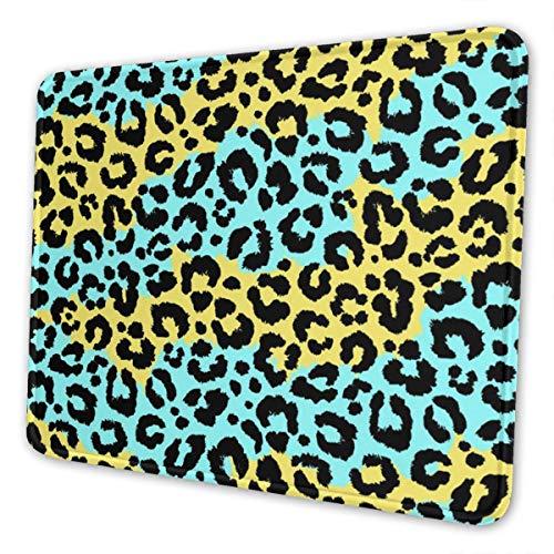 Mauspad, Leopardenmuster, Blau / Gold, rechteckig, rutschfeste Gummiunterseite,...