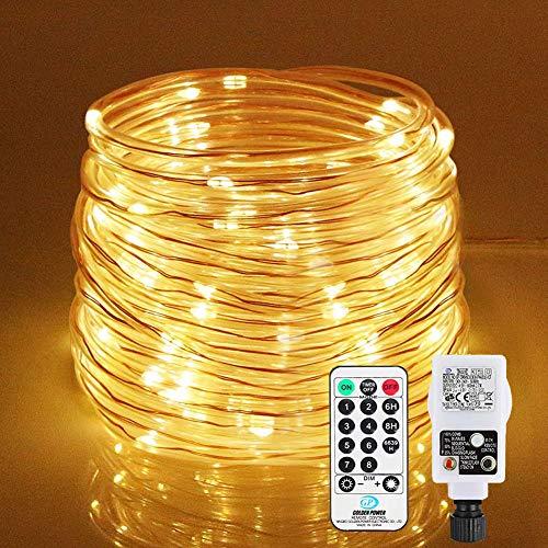 LED Lichtschlauch 200Leds 20Meter Lichterkette mit Fernbedienung Warmweiß 8...