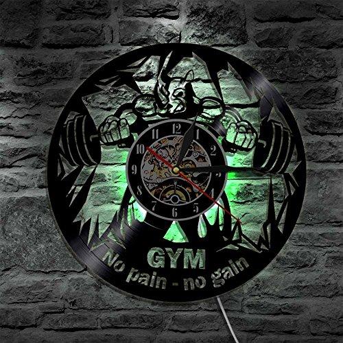 BFMBCHDJ Gym No Pain No Gain LED Wandschild Beleuchtung Vinyl Schallplatte...